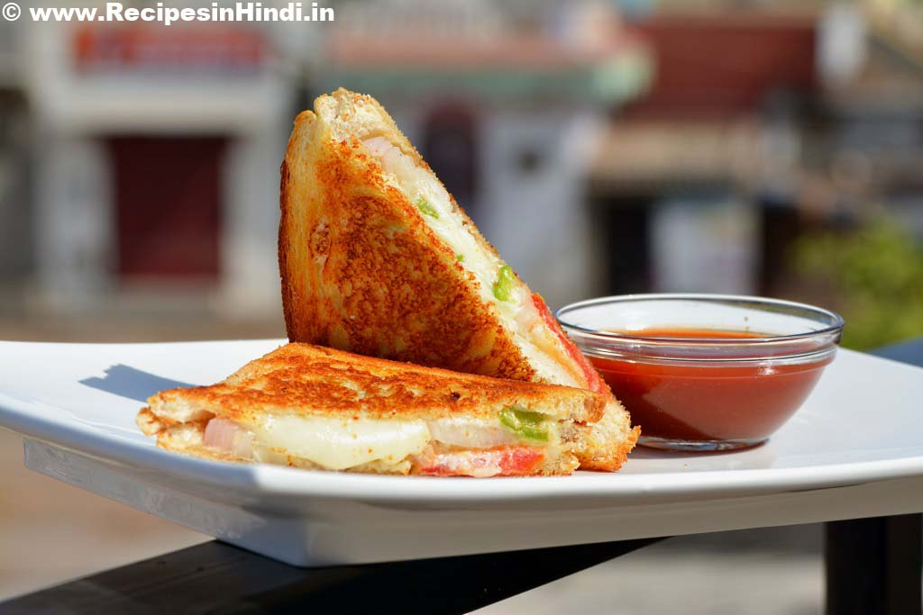 Home made Cheese Tawa Masala Sandwich Recipe in Hindi.