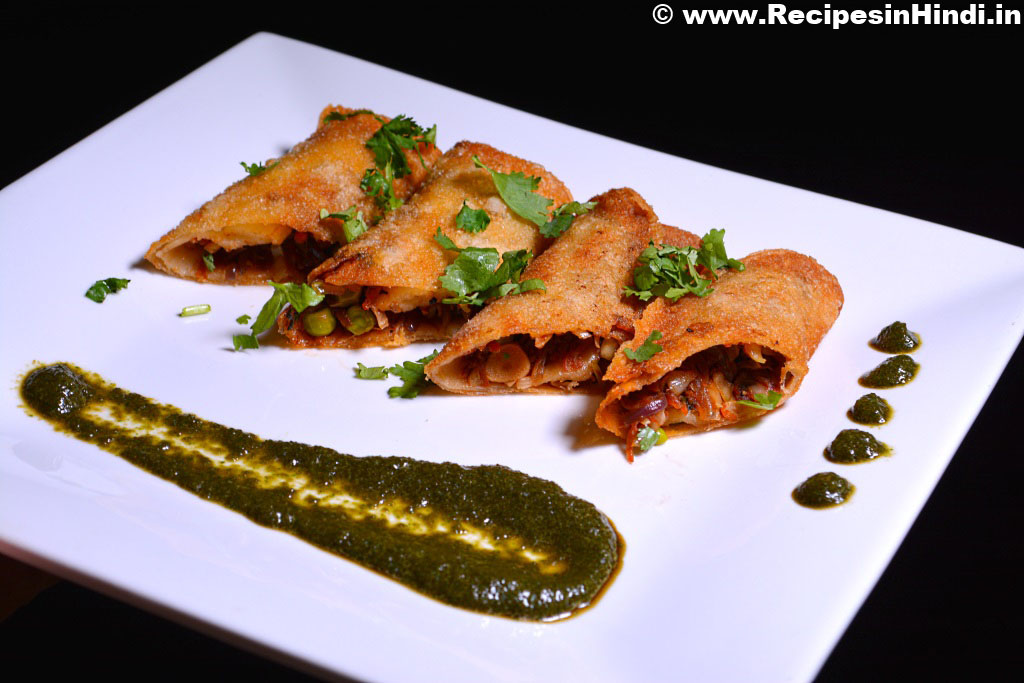 Restaurant Style Home made Spring Rolls Recipe in Hindi.