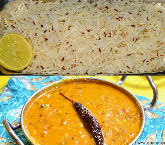 dal tadka with jeera rice indian dal chaval recipe.