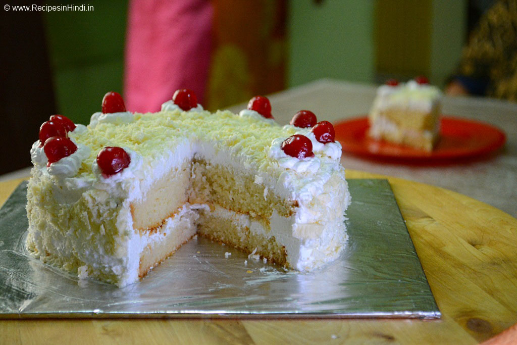 White Forest Cake Recipe in Hindi. Eggless White Forest Cake Recipe. Indian White Forest Cake Recipe. Healthy Cake Recipe.